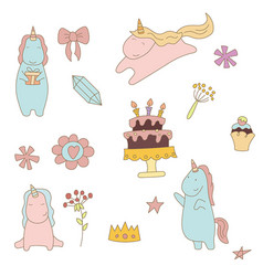 set of unicorn set of unicorn vector image vector image