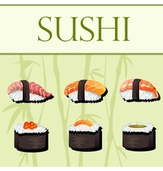 Sushi and rolls template vector image vector image