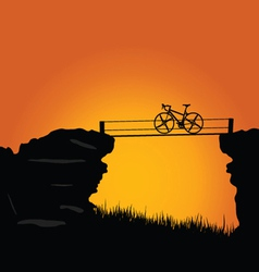 bike on cliff color vector image