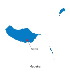 Detailed map of Madeira and capital city Funchal vector image vector image