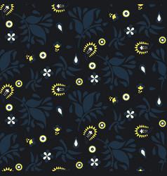 floral paisley dark blue pattern vector image vector image