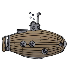 Funny old submarine vector image vector image