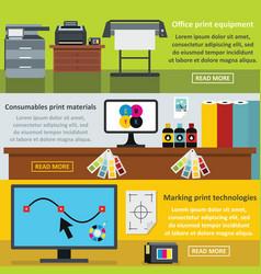 printing process banner horizontal set flat style vector image