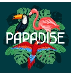 Tropical birds print design with palm leaves vector image vector image