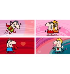valentine cartoon greeting cards set vector image vector image
