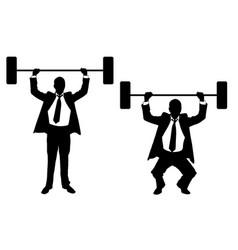 Businessmen lifting weights vector