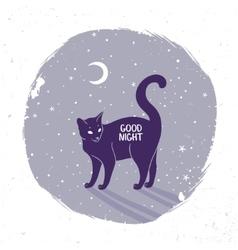 cat silhouette night vector image
