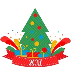 Christmas tree 2017 vector image vector image