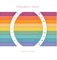 colorful strips and white semicircles for text 9 vector image