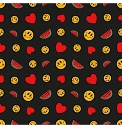 Hearts Smile and Watermelons Seamless Pattern vector image vector image