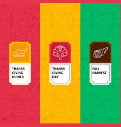 line thanksgiving patterns set vector image vector image