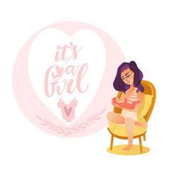 newborn baby girl card with breast feeding mom vector image vector image
