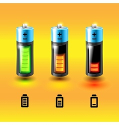 Set of batteries Charge conditions vector image vector image