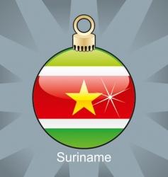 Suriname flag on bulb vector image vector image