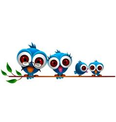 cute blue bird cartoon family vector image vector image