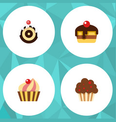 flat cake set of muffin dessert sweetmeat and vector image
