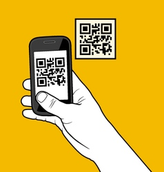 Hand with smartphone taking a QR code vector image vector image