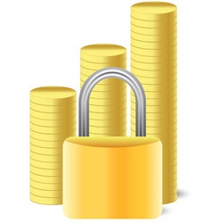 money icon with lock and coins vector image vector image