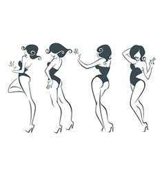new pin up girls vector image vector image