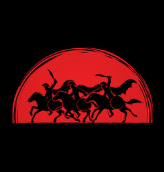 3 spartan warriors riding horses with weapon vector