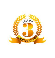 3 years ribbon anniversary vector