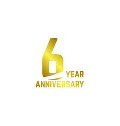 6 year anniversary logo template design vector