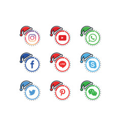 a collection of popular social media icons vector image
