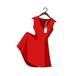 A red dress on a clothes rack vector