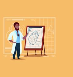 African american doctor cardiologist over flip vector