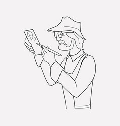 archaeologist icon line element vector image