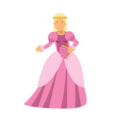 Beautiful blonde princess in a pink dress vector