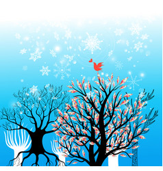 Beautiful winter background with trees and vector