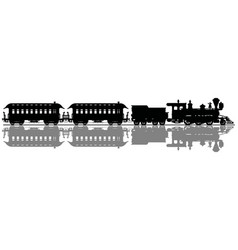 black silhouette of an old steam train vector image