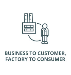 Business to customerfactory to consumer line icon vector
