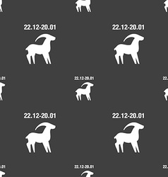 Capricorn sign Seamless pattern on a gray vector