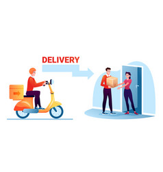 Cartoon courier worker man character delivering vector