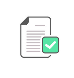 Check mark document file page verified icon vector