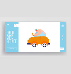 Childhood activity website landing page man vector