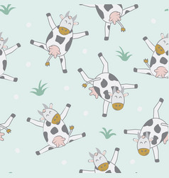 childish seamless pattern with cute cow creative vector image