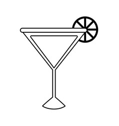 Cocktail garnished with lemon slice icon image vector