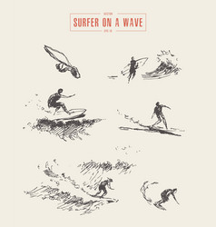 collection sketches surfer wave drawn surf vector image