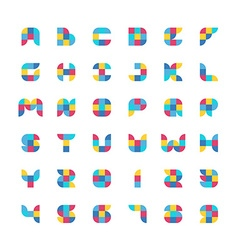 Colorful geometric flat color particles font vector