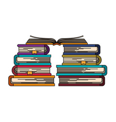 Colorful image of stack of books with open book in vector