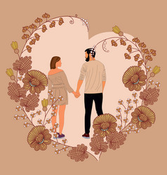 Couple in love stand in wreath heart form vector