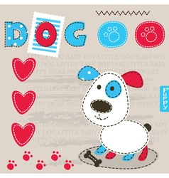 Cute baby background with dog 2 vector