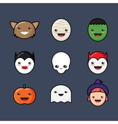 Cute Kawaii Halloween Icons Set Funny Monster vector