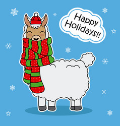 Cute llama with scarf and hat vector