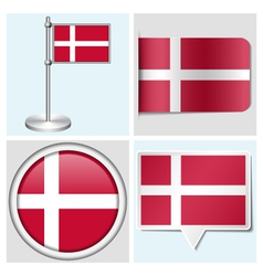 Denmark flag - sticker button label flagstaff vector