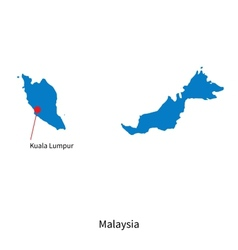 Detailed map of Malaysia and capital city Kuala vector