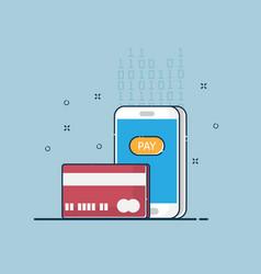 digital online payment flat design vector image